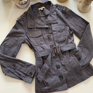 Grey button belted utility jacket